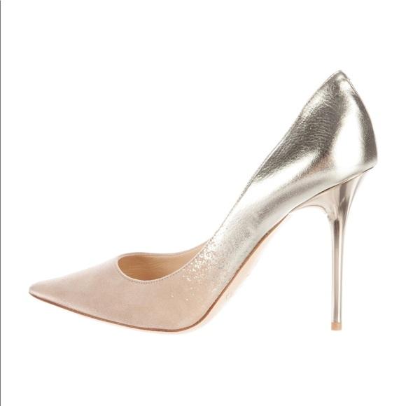 dcb53906ac59 Jimmy Choo Shoes - Jimmy Choo Metallic Nude suede heels